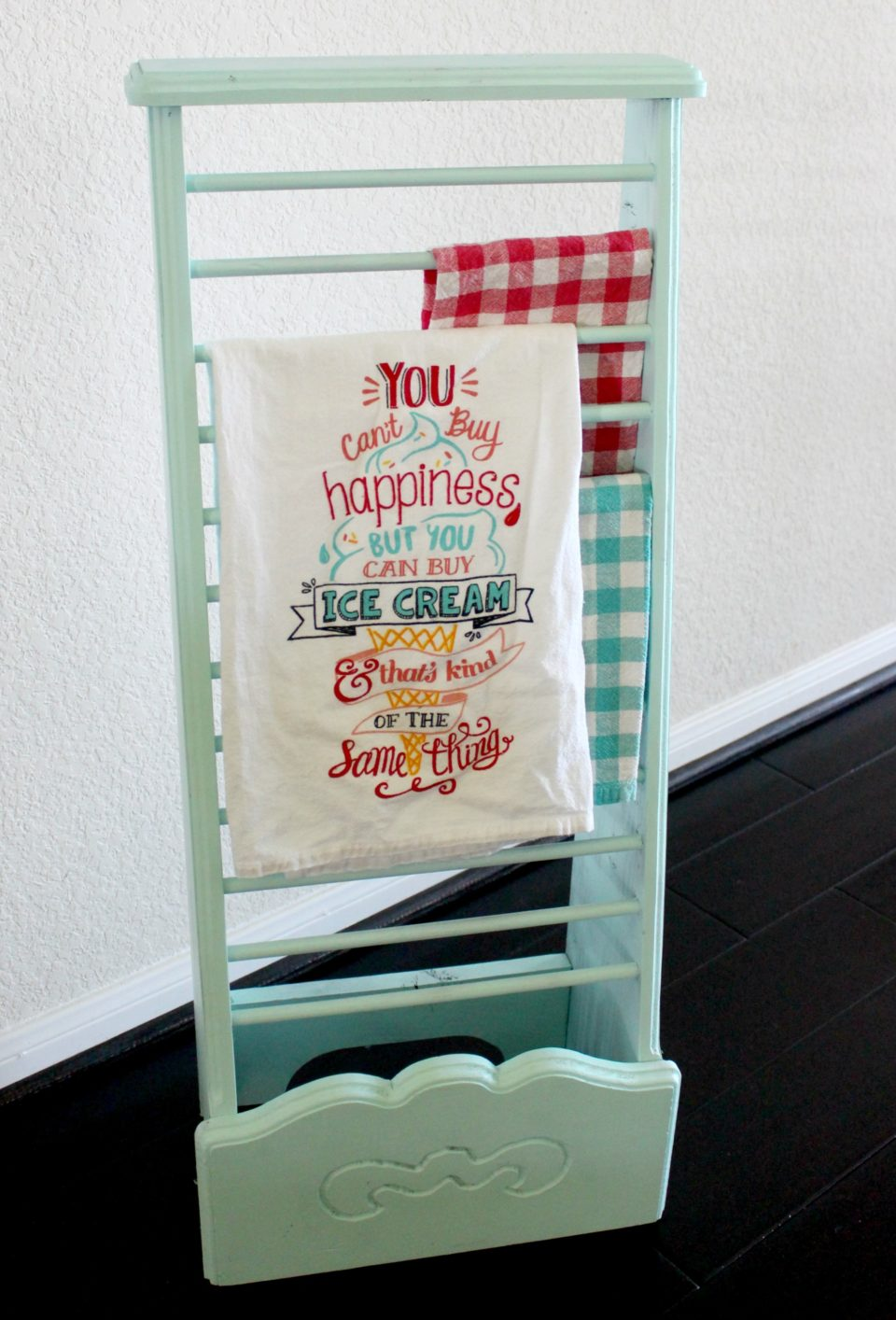 Garage Sale Find to Dish Towel Rack