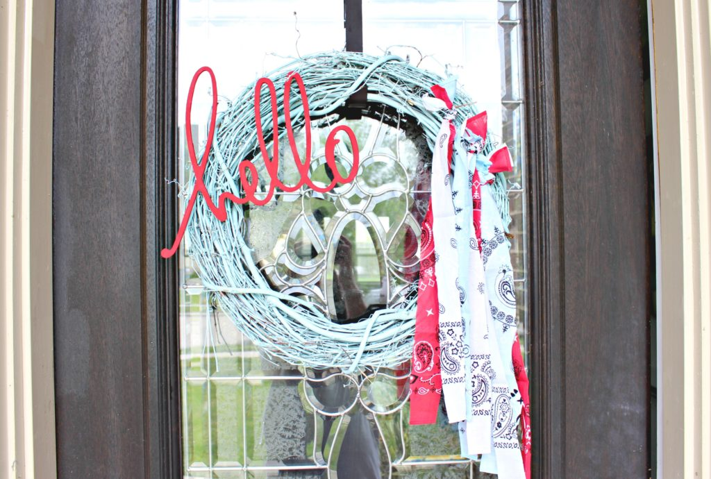 Need a Little Something to Dress Up Your Door for Summer? Try this easy Patriotic Bandana Wreath for Memorial Day or the Fourth of July!