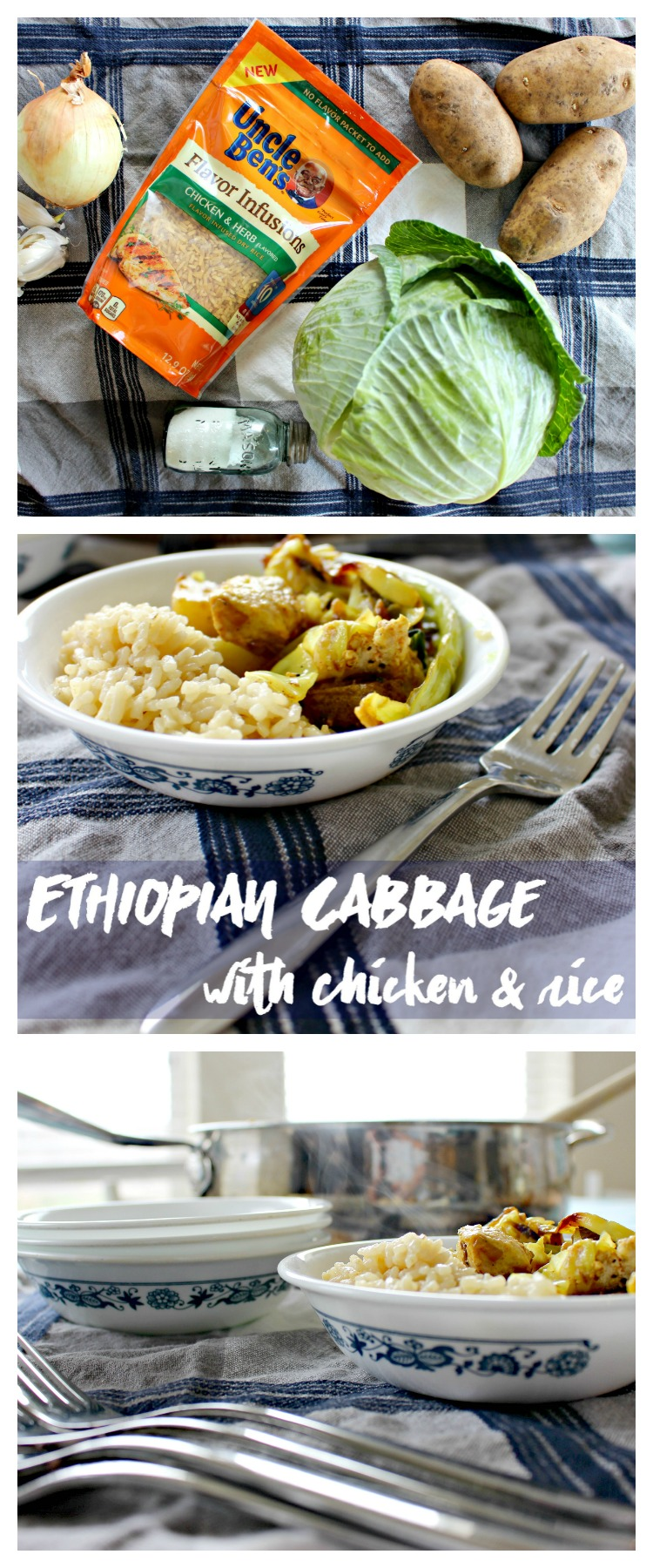 Want to Mix Up Your Typical Weeknight Meal with Some Easy Flavor? Try Ethiopian Cabbage with Chicken & Rice! #UncleBens #FlavorInfusions #Ad