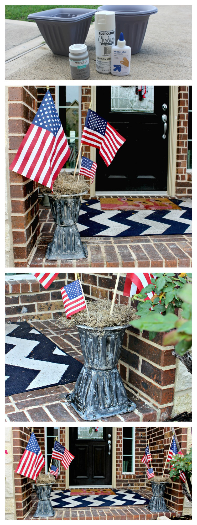 Looking for an affordable way to spruce up your porch for summer? Make These DIY Faux Vintage Urns Using Dollar Tree Supplies!