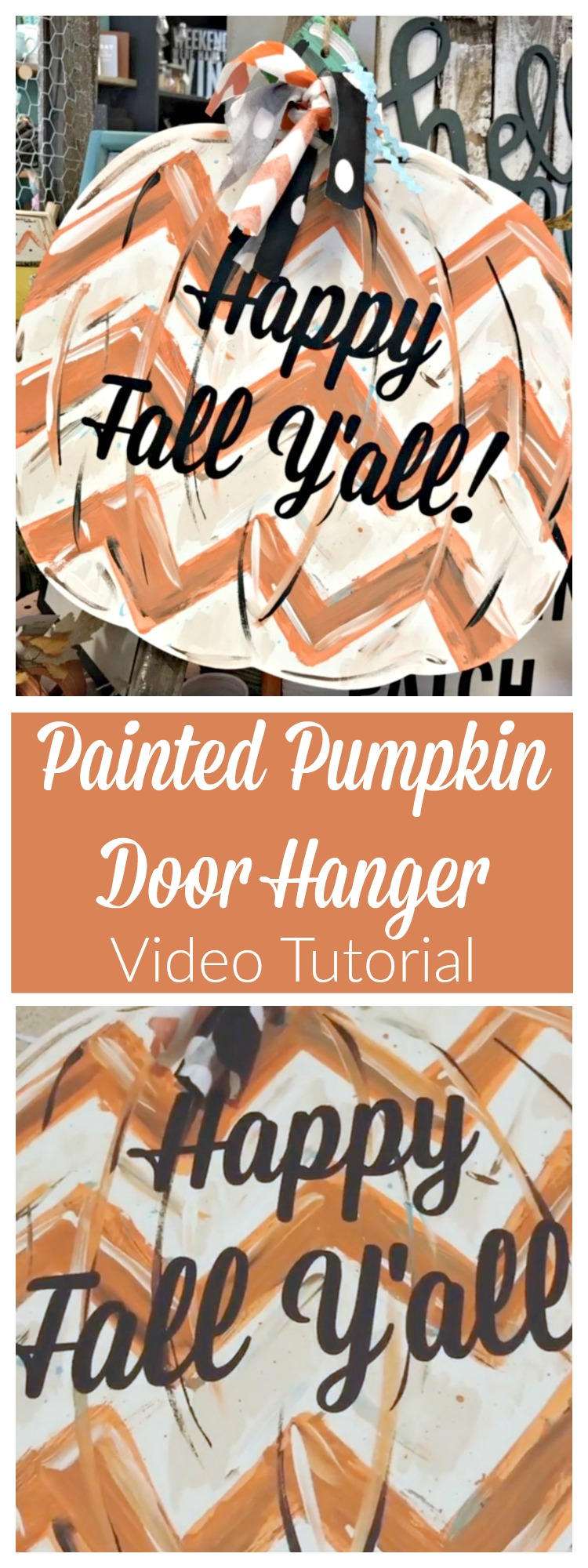 How to Paint a Pumpkin Door Hanger for Your Fall & Halloween Home Decor!