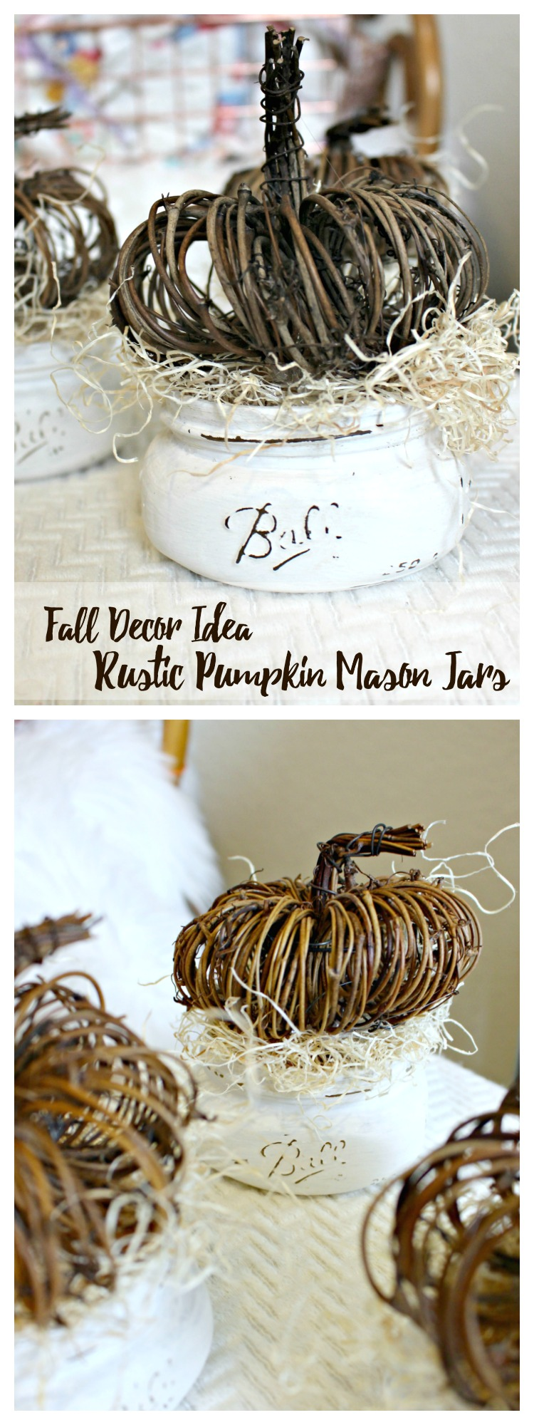 Need a Simple Centerpiece? Try This DIY Fall Decor Idea- Rustic Pumpkin Mason Jars!