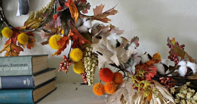 Fall Mantel- DIY Embroidery Hoop Wreaths for Fall