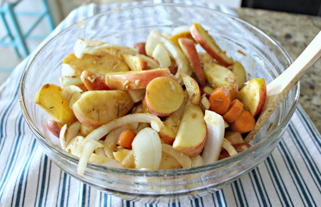 Looking for a Quick but Hearty Fall Dinner? Try This Crock Pot Recipe for Pork & Apples with Potatoes, Carrots & Onions! #Ad #RealFlavorRealFast