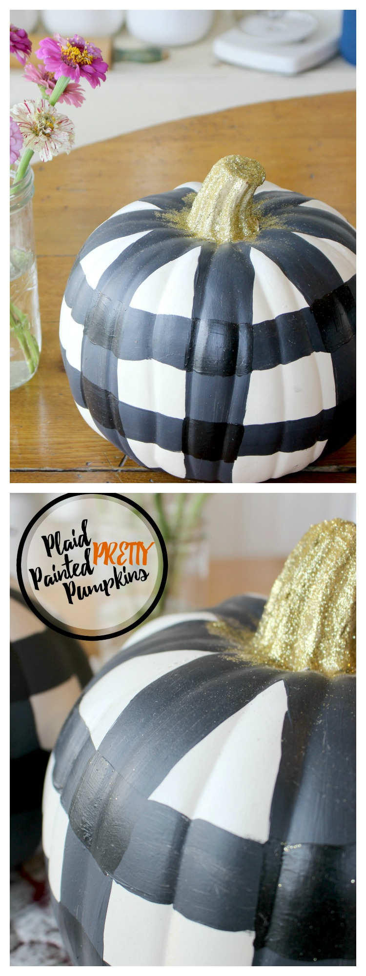 DIY Plaid Painted Pumpkins for your fall decor! Lover of Gingham or Buffalo Plaid? This fall craft is for you!