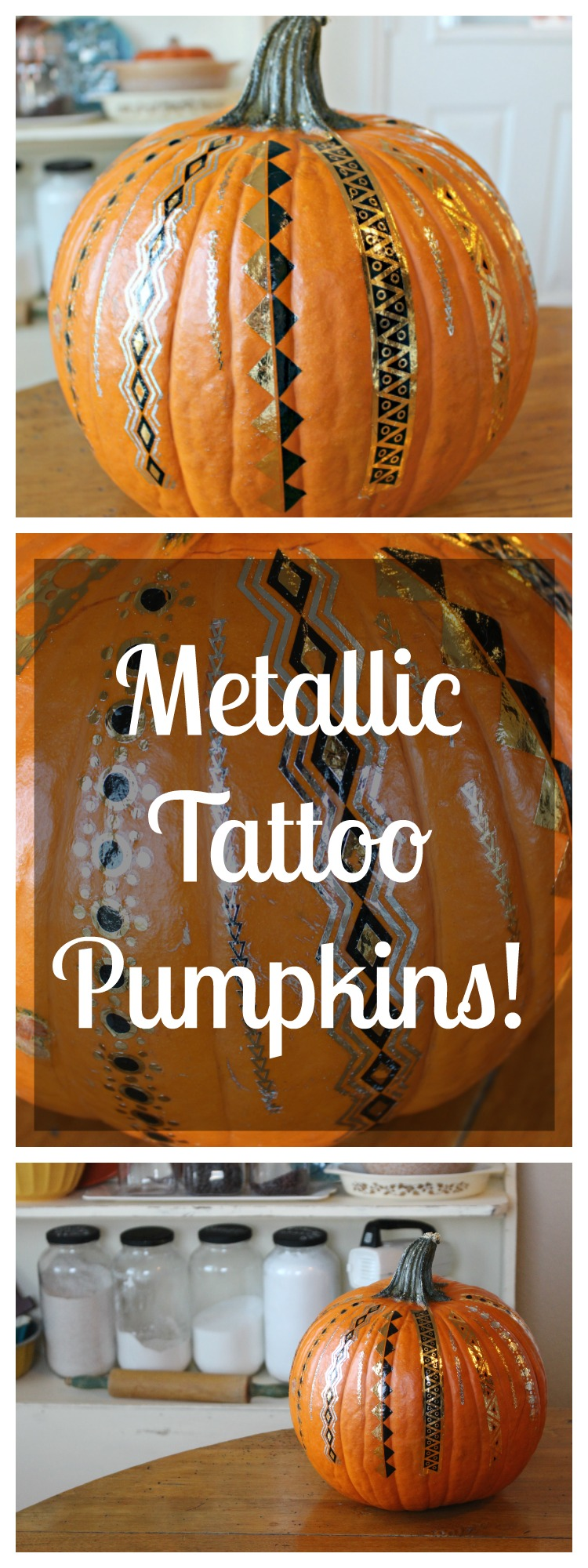 DIY Metallic Tattoo Pumpkins!