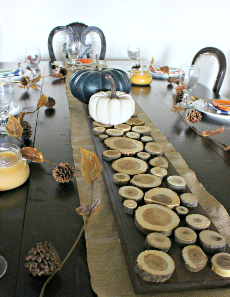 Make a DIY Wood Slice Table Runner to add Texture & Warmth to your Table! #HobbyLobbyMade #HobbyLobbyHoliday #ad