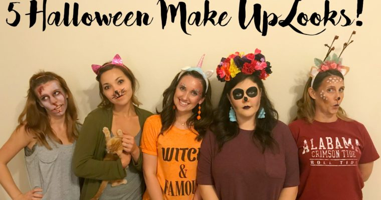 5 Make Up Looks for Halloween- Cat, Zombie, Deer, Unicorn & Skeleton (Video Tutorial)