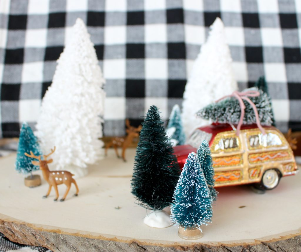 Make a Gorgeous, Winter Scene on a Wood Slice!  Makes a Festive, Holiday Centerpiece & a Fun, Christmas Craft! #HobbyLobbyMade #HobbyLobbyHoliday #ad
