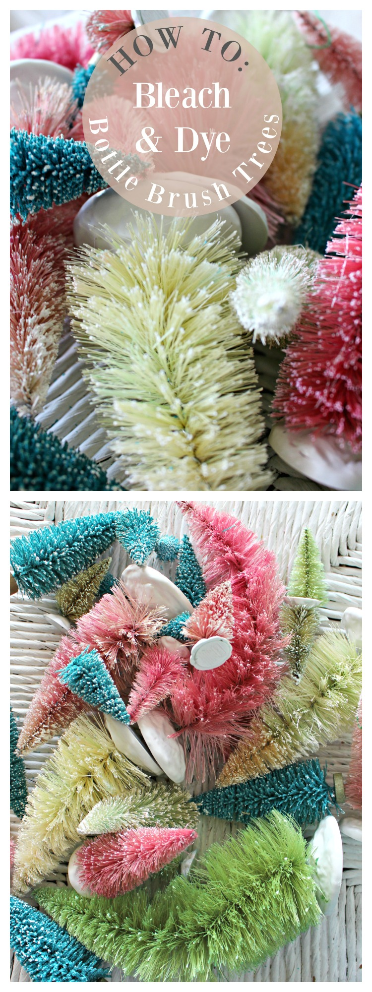 How to Bleach & Dye Bottle Brush Trees to Match Your Christmas Decor! #ChristmasCrafts