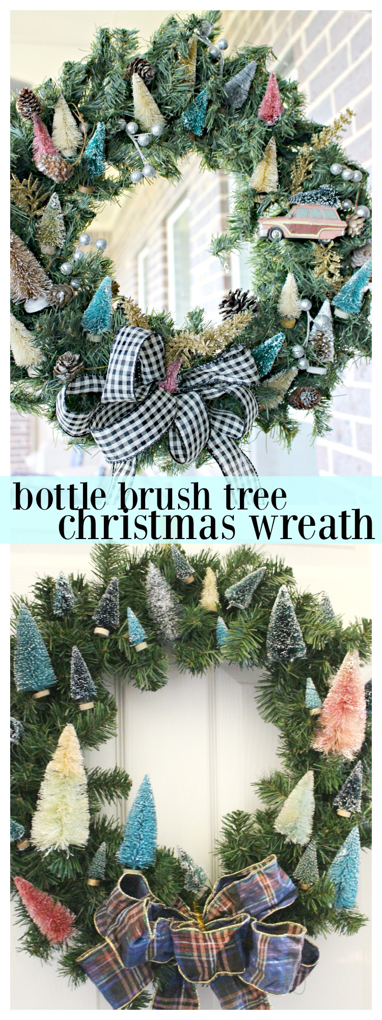How to Make a Bottle Brush Tree Wreath for Your Christmas Decorations! #ChristmasCrafts #ChristmasWreath