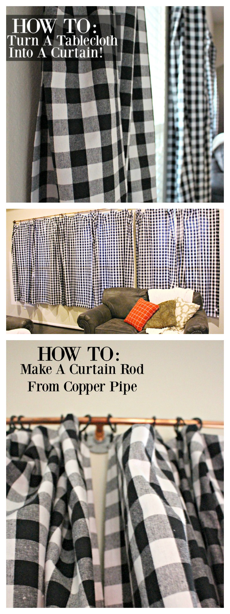 How to DIY Industrial Style Curtains from Copper Pipe! How to DIY Curtains for CHEAP from Tablecloths! #DIY #HomeDecor #Curtains #Gingham