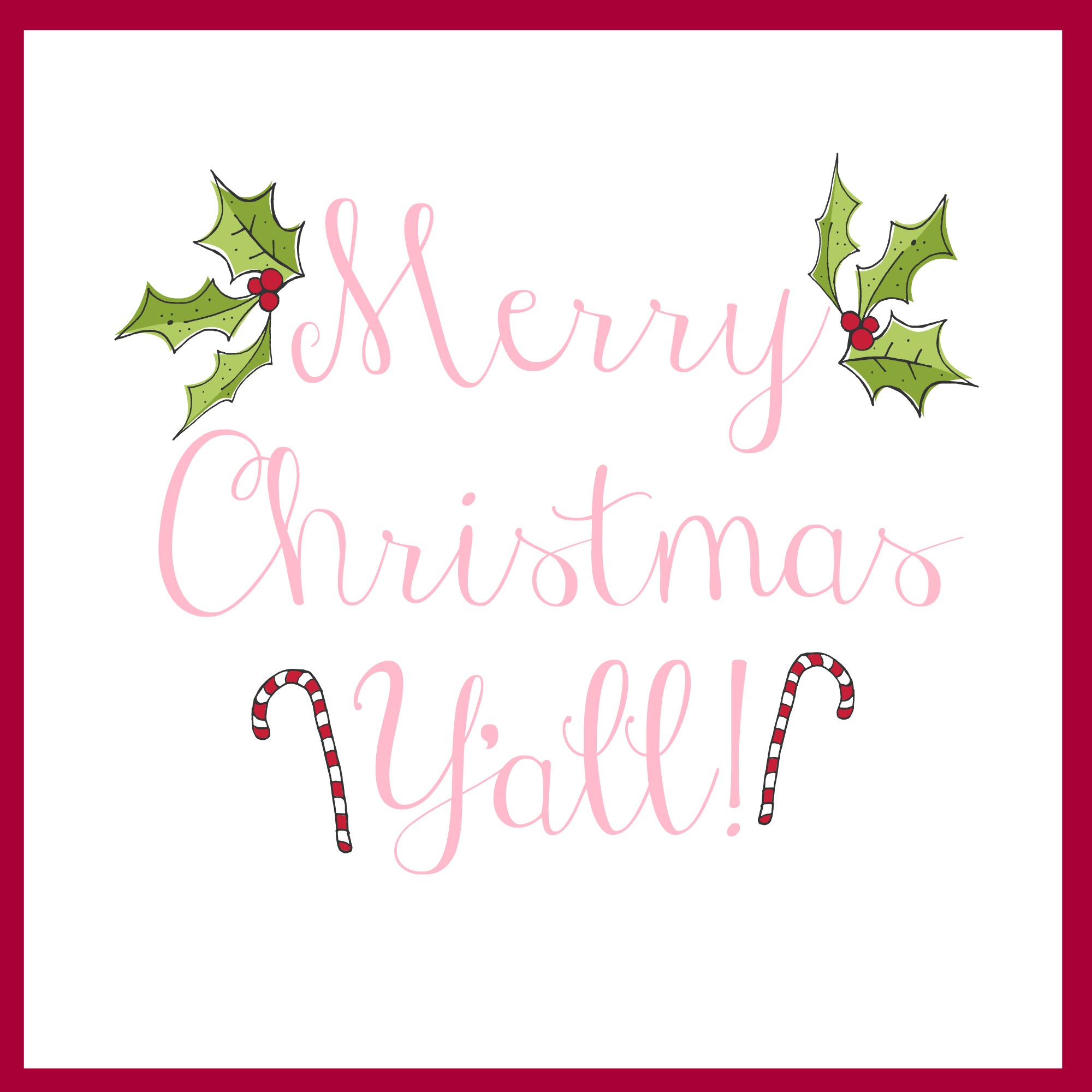 graphic about Merry Christmas Printable referred to as Merry Xmas Yall Printable