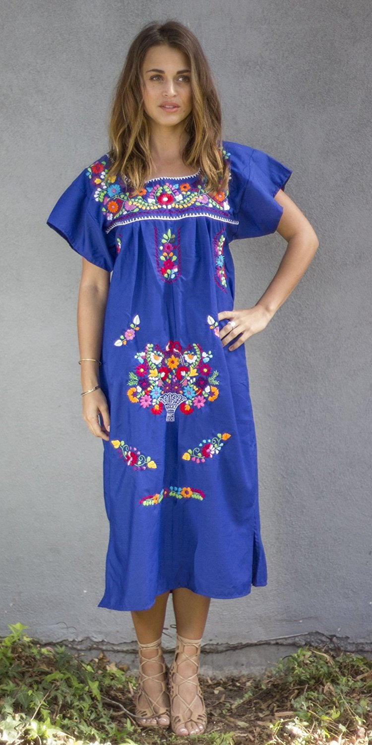 Mexican Puebla Dress Youth Girls, Turquoise, Size 2